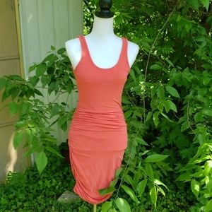 Coral Ruched Body Con Style Express Dress S